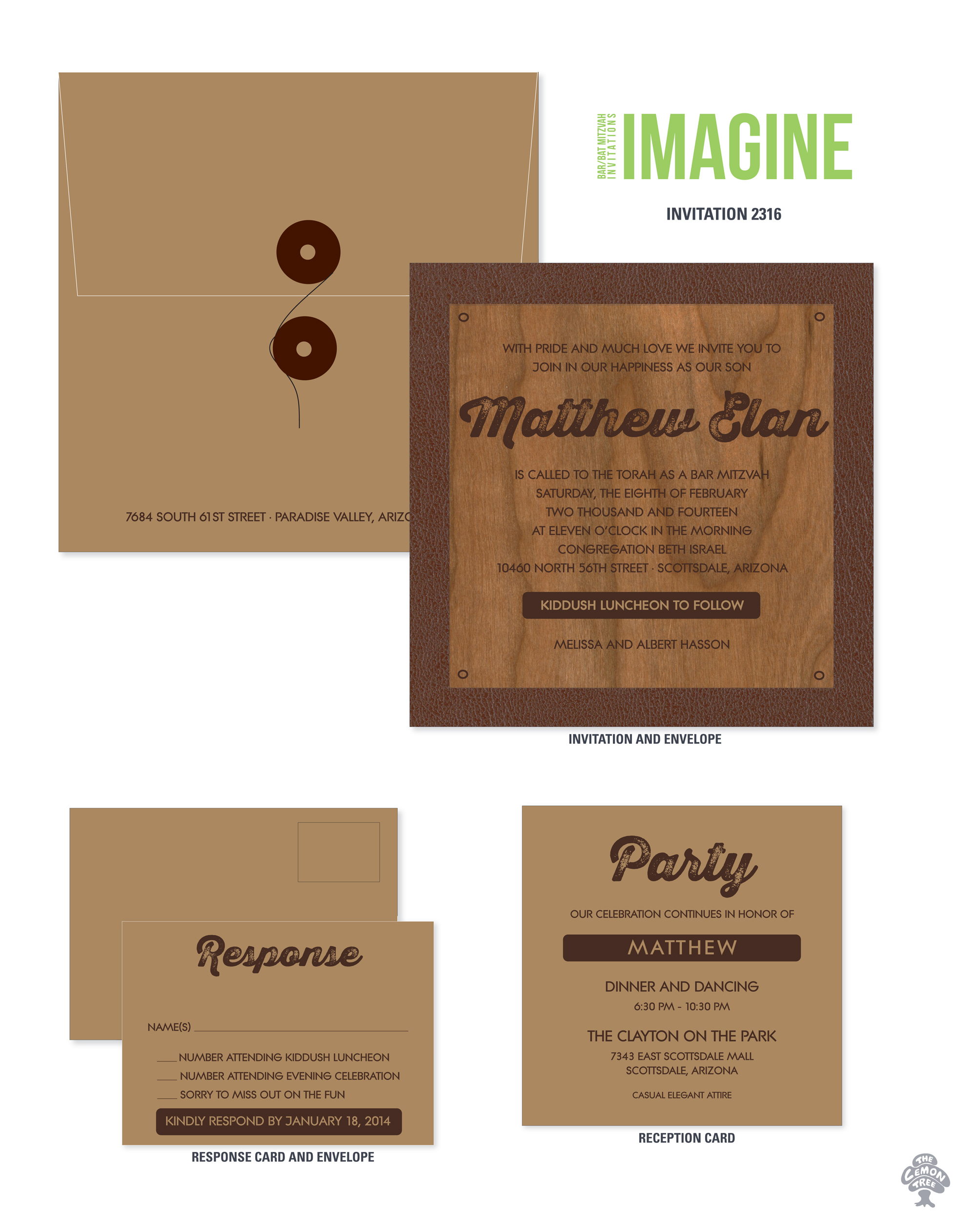 Contemporary invitations for Bar Mitzvahs and Bat Mitzvahs